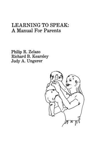 Learning To Speak A Manual for Parents book cover