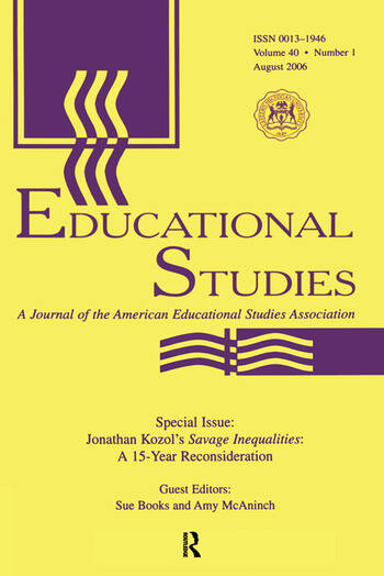 Guest Editor'S Introduction Es V40#1 J.KOZOL'S SAVAGE INEQUALAIT. book cover