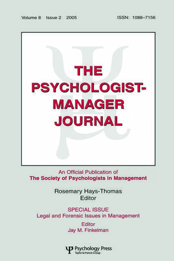 Legal And Forensic Isssues In Management Tpmj V8#2 book cover