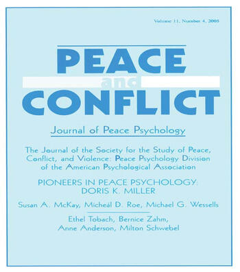 Pioneers in Peace Psychology Doris K. Miller: A Special Issue of Peace and Conflict: Journal of Peace Psychology book cover