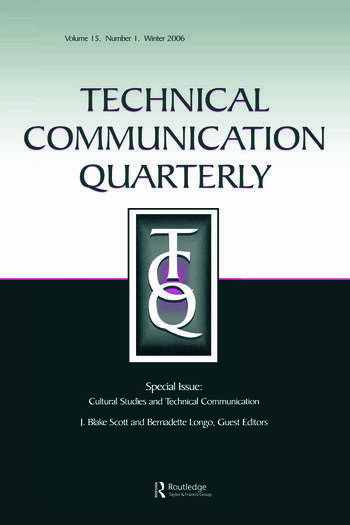 Cultural Studies And Technical Communication Tcq V15#1 book cover