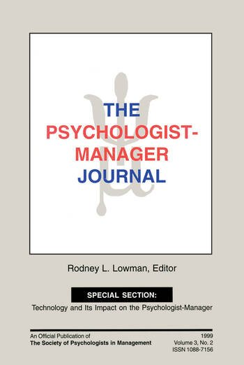 The Psychologist-Manager Journal Volume 3, Number 2 book cover