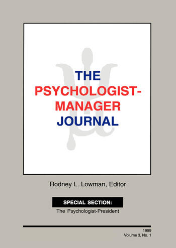 The Psychologist-Manager Journal Volume 3, Number 1 book cover