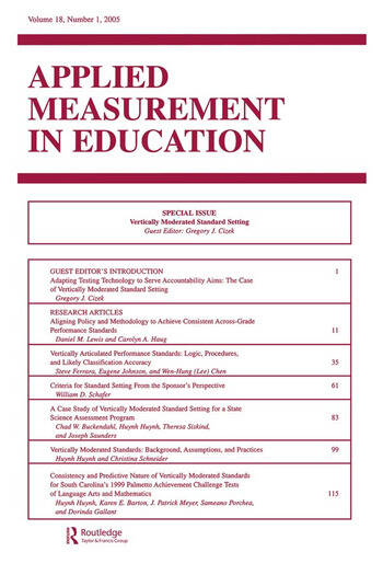 Vertically Moderated Standard Setting A Special Issue of applied Measurement in Education book cover