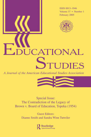 The Contradictions of the Legacy of Brown V. Board of Education, Topeka (1954) A Special Issue of Educational Studies book cover