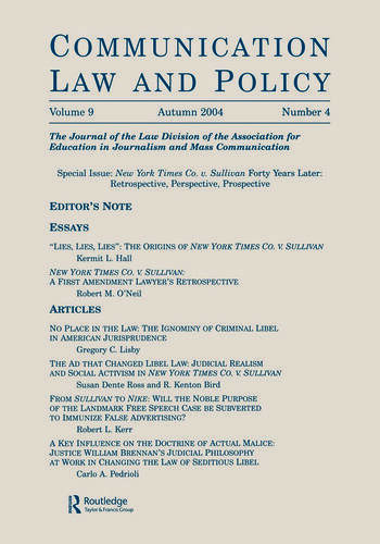 New York Times Co. v. Sullivan Forty Years Later Retrospective, Perspective, Prospective:a Special Issue of communication Law and Policy book cover