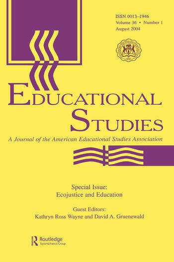 Ecojustice and Education A Special Issue of educational Studies book cover