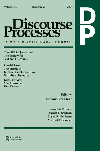 The Effects of Personal Involvement in Narrative Discourse A Special Issue of Discourse Processes book cover
