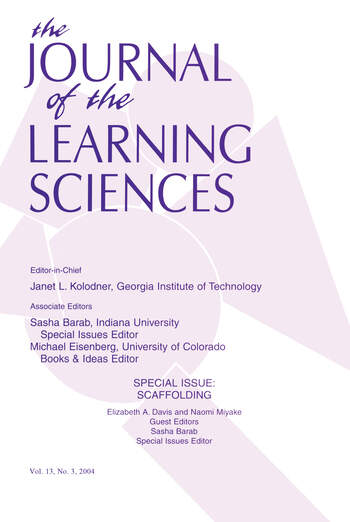 Scaffolding A Special Issue of the Journal of the Learning Sciences book cover