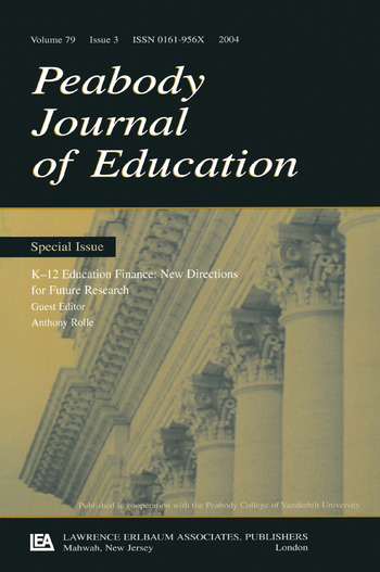 K-12 Education Finance New Directions for Future Research:a Special Issue of the peabody Journal of Education book cover