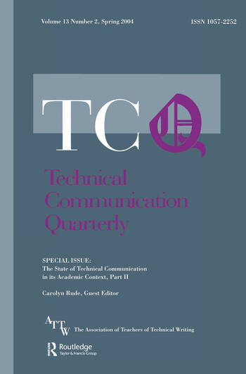 The State of Technical Communication in Its Academic Context: Part 2 A Special Issue of Technical Communication Quarterly book cover