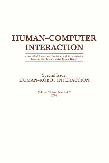 Human-robot Interaction A Special Double Issue of human-computer Interaction book cover