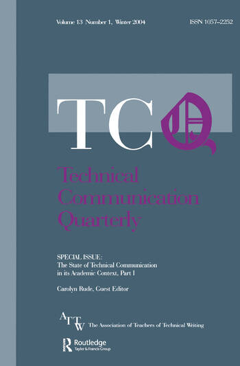 The State of Technical Communication in Its Academic Context: Part I A Special Issue of Technical Communication Quarterly book cover