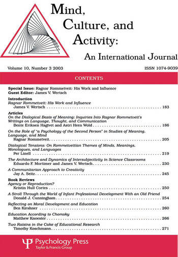 Ragnar Rommetveit His Work and Influence:a Special Issue of mind, Culture, and Activity book cover