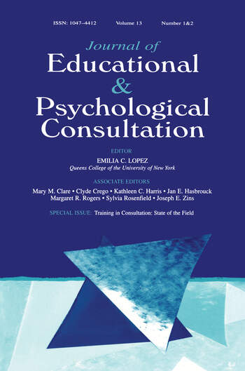 Training in Consultation State of the Field:a Special Double Issue of journal of Educational and Psychological Consultation book cover
