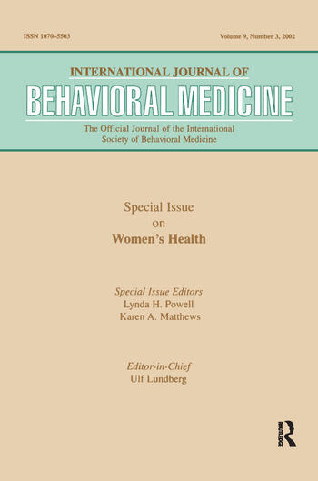 -Special Issue on Women's Health A Special Issue of the International Journal of Behavioral Medicine book cover