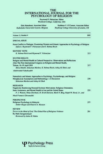 From Conflict to Dialogue Examining Western and Islamic Approaches in Psychology of Religion: A Special Issue of the International Journal for the Psychology of Religion book cover