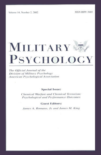 Chemical Warfare and Chemical Terrorism Psychological and Performance Outcomes:a Special Issue of military Psychology book cover