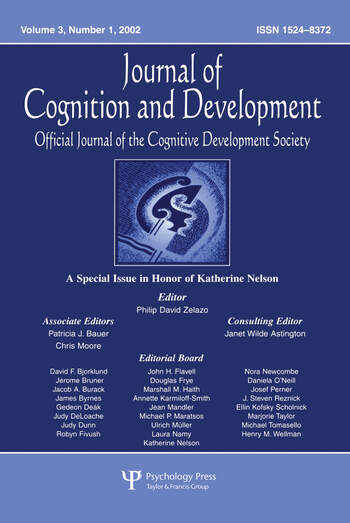 A Special Issue in Honor of Katherine Nelson A Special Issue of journal of Cognition and Development book cover