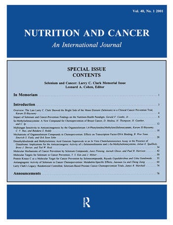 Selenium and Cancer Larry C. Clark Memorial Issue: A Special Issue of Nutrition and Cancer book cover