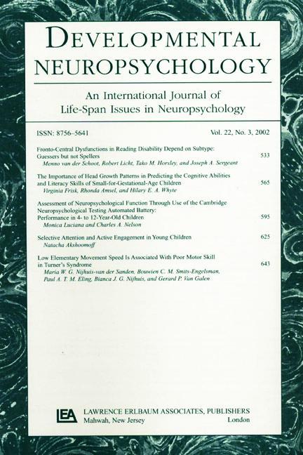 The Neuropsychology of Developmental Dyslexia A Special Issue of developmental Neuropsychology book cover