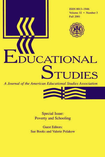 Poverty and Schooling A Special Issue of Educational Studies book cover