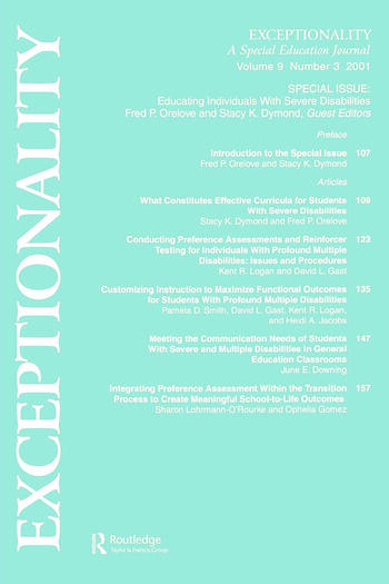 Educating Individuals With Severe Disabilities A Special Issue of exceptionality book cover