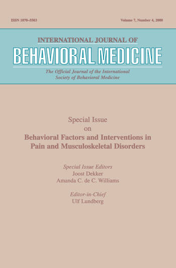 Behavioral Factors and Interventions in Pain and Musculoskeletal Disorders A Special Issue of the International Journal of Behavioral Medicine book cover
