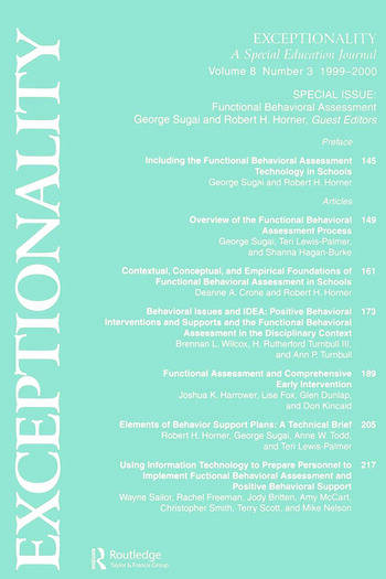 Functional Behavioral Assessment A Special Issue of exceptionality book cover