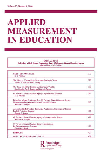 Defending A High School Graduation Test Gi Forum V. Texas Education Agency. A Special Issue of applied Measurement in Education book cover