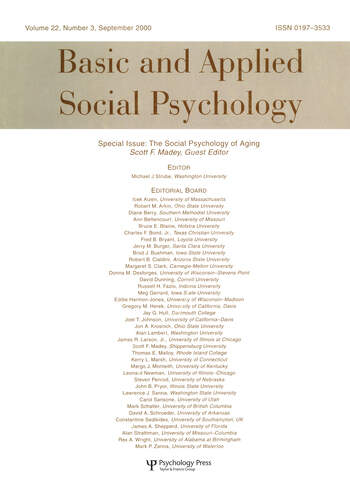 The Social Psychology of Aging A Special Issue of basic and Applied Social Psychology book cover