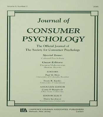 Cultural Psychology A Special Issue of the journal of Consumer Psychology book cover