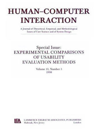 Experimental Comparisons of Usability Evaluation Methods A Special Issue of Human-Computer Interaction book cover