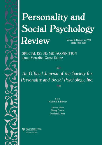 Metacognition A Special Issue of personality and Social Psychology Review book cover