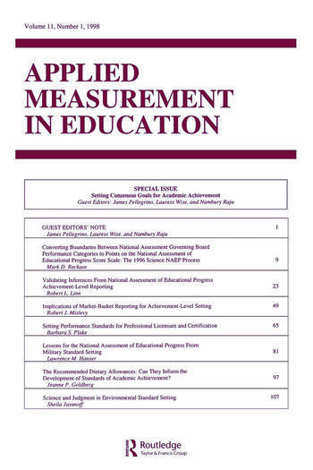 Setting Consensus Goals for Academic Achievement A Special Issue of applied Measurement in Education book cover