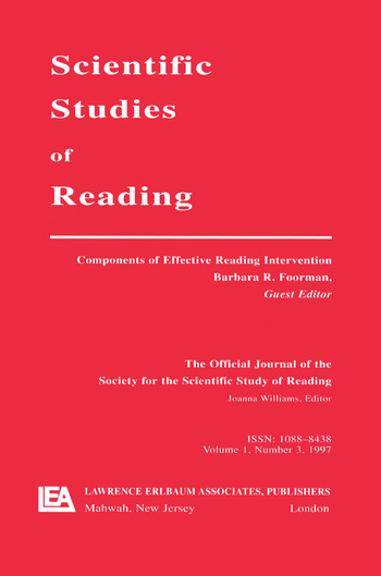 Components of Effective Reading Intervention A Special Issue of scientific Studies of Reading book cover