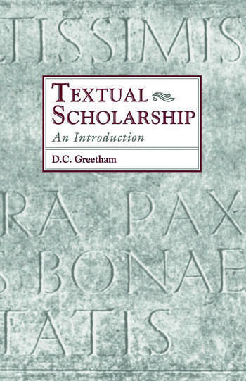 Textual Scholarship An Introduction book cover