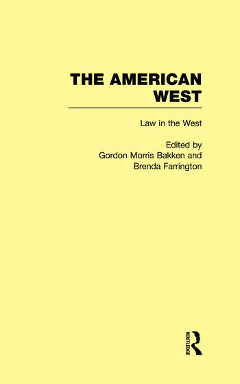 Law in the West The American West book cover
