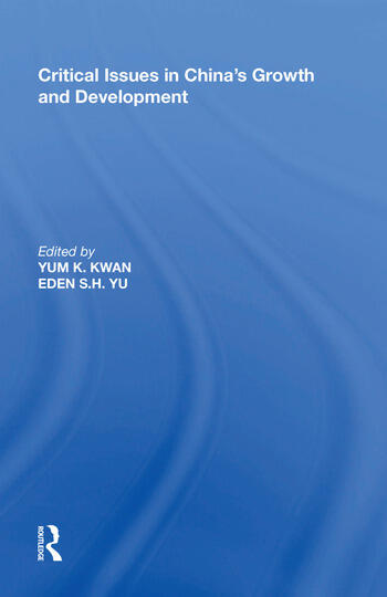 Critical Issues in China's Growth and Development book cover