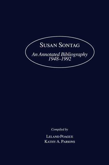 Susan Sontag An Annotated Bibliography 1948-1992 book cover