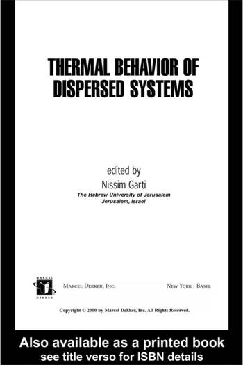 Thermal Behavior of Dispersed Systems book cover