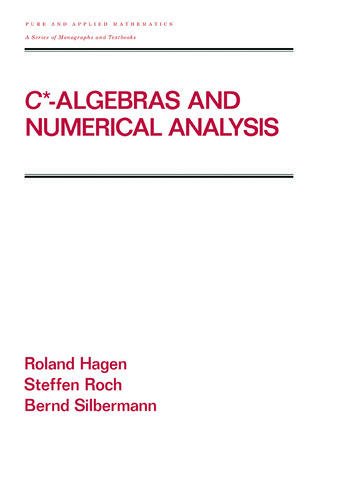 C* - Algebras and Numerical Analysis book cover