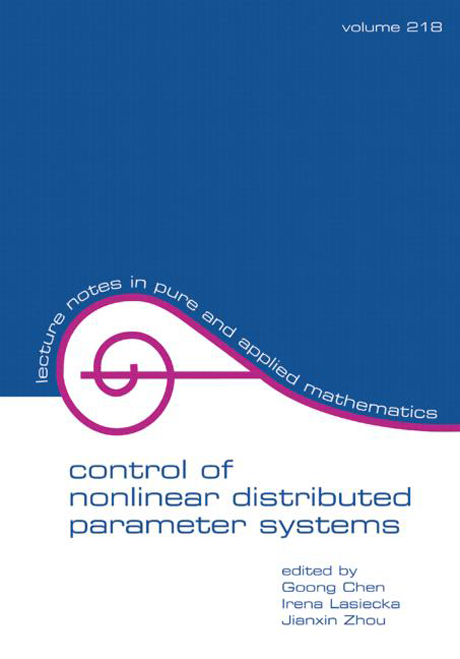 Control Of Nonlinear Distributed Parameter Systems book cover