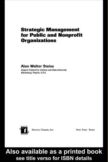 Strategic Management for Public and Nonprofit Organizations book cover