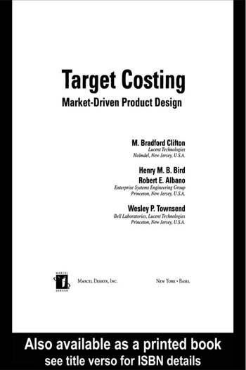 Target Costing Market Driven Product Design book cover