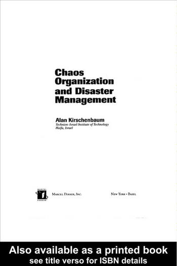 Chaos Organization and Disaster Management book cover