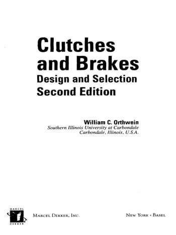 Clutches and Brakes Design and Selection book cover
