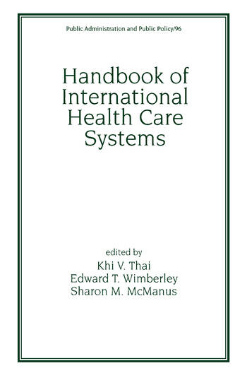 Handbook of International Health Care Systems book cover