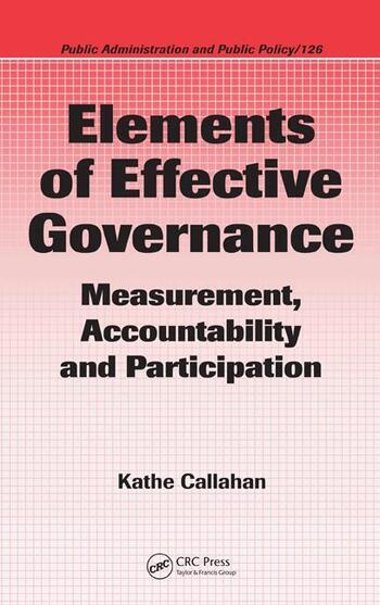 Elements of Effective Governance Measurement, Accountability and Participation book cover