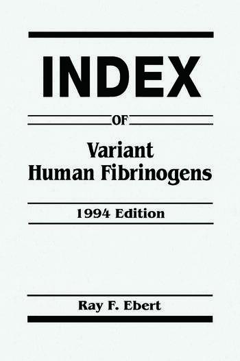 Index of Variant Human Fibrinogens book cover